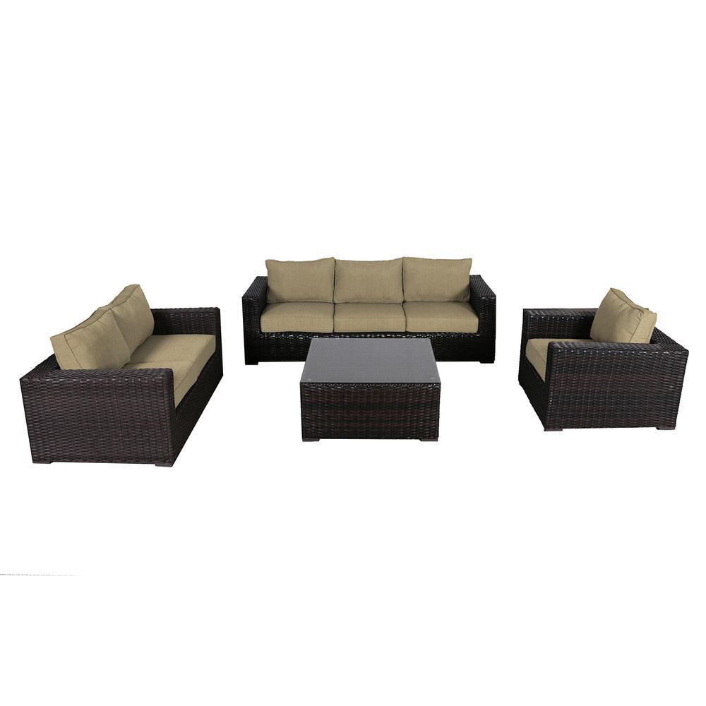 Santa Monica 4-Piece Wicker Patio Deep Seating Set with Sunbrella Brass Cushions