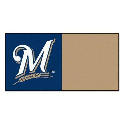 MLB - Milwaukee Brewers Navy Blue and Nylon 18 in. x 18 in. Carpet Tile (20 Tiles/Case)