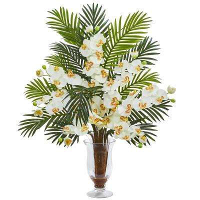 Indoor Phalaenopsis Orchid and Areca Palm Artificial Arrangement