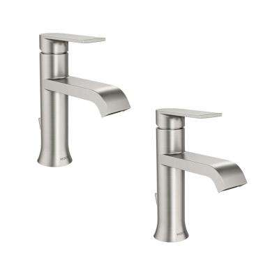 Genta Single Hole Single-Handle Bathroom Faucet in Spot Resist Brushed Nickel (2-Pack)