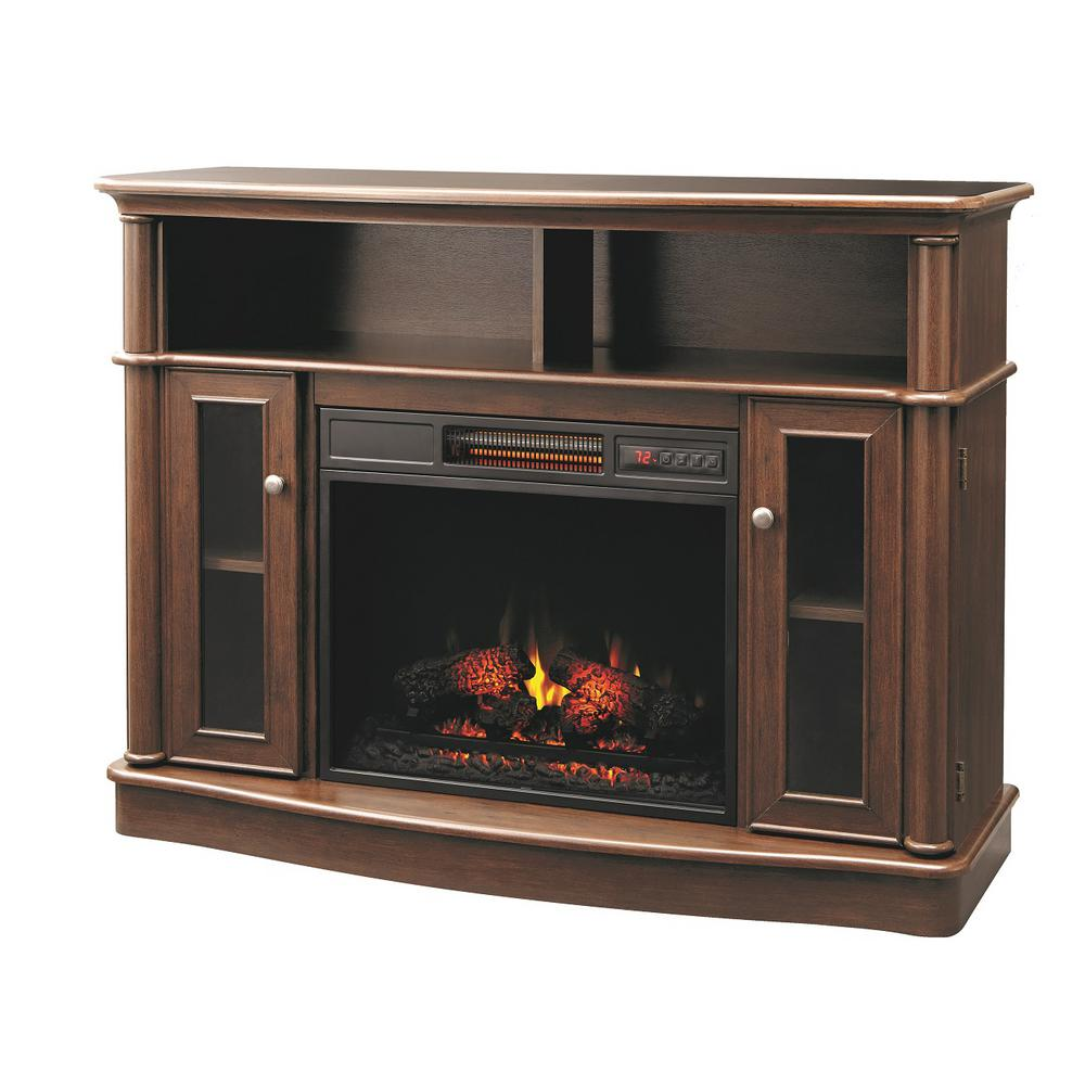 Home Decorators Collection Tolleson 48 in. Media Console Infrared Bow Front Electric Fireplace in Mocha