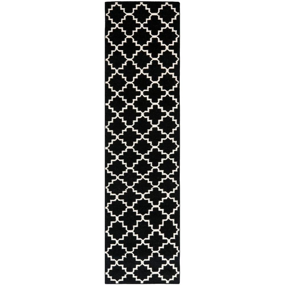 Dhurries Black/Ivory 2 ft. 6 in. x 12 ft. Runner