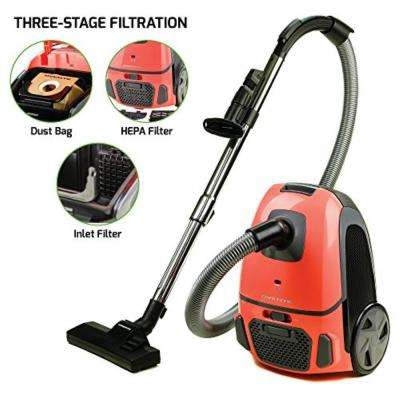 Canister Vacuum with Tri-Level Filtration Dust Bag, Outlet HEPA Filter, and Inlet Filter, Orange (ST1600C)