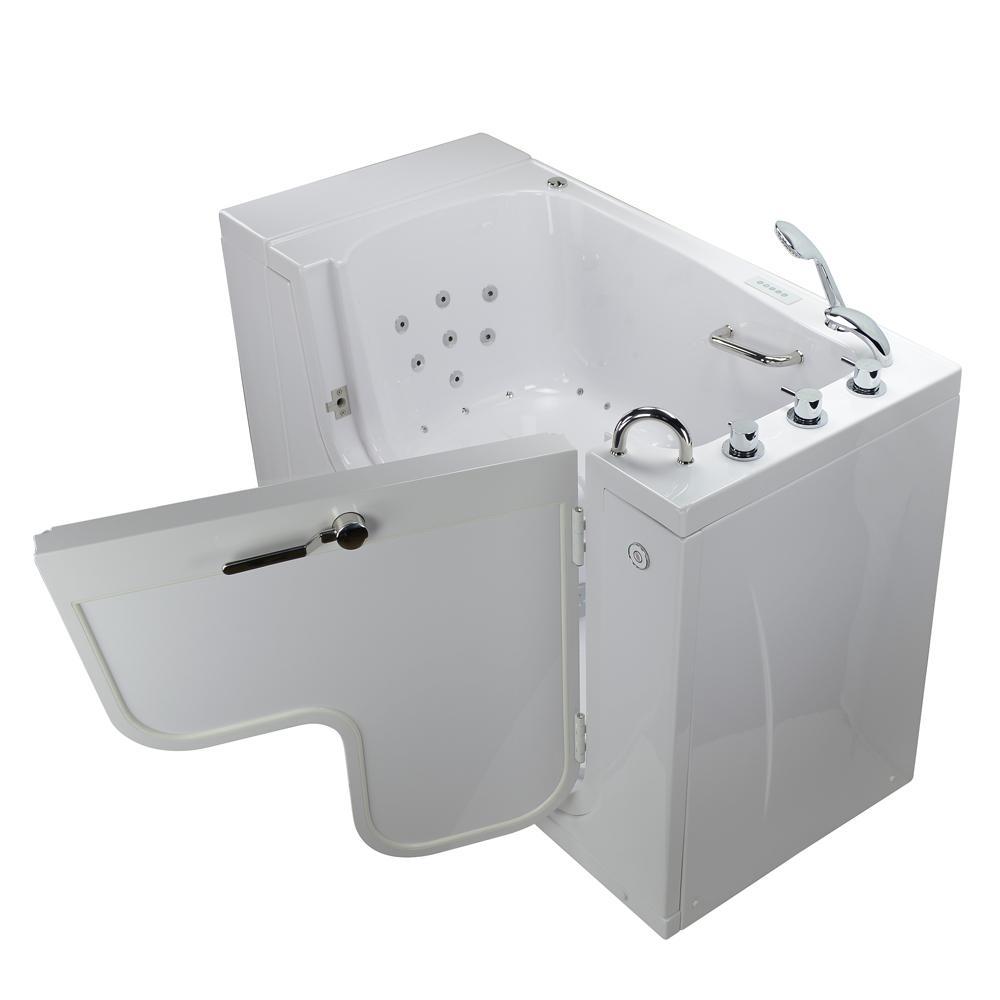 Wheelchair Transfer 52 in. Acrylic Walk-In Whirlpool and Air Bath Bathtub in White, Faucet, Heated Seat, RH Dual Drain