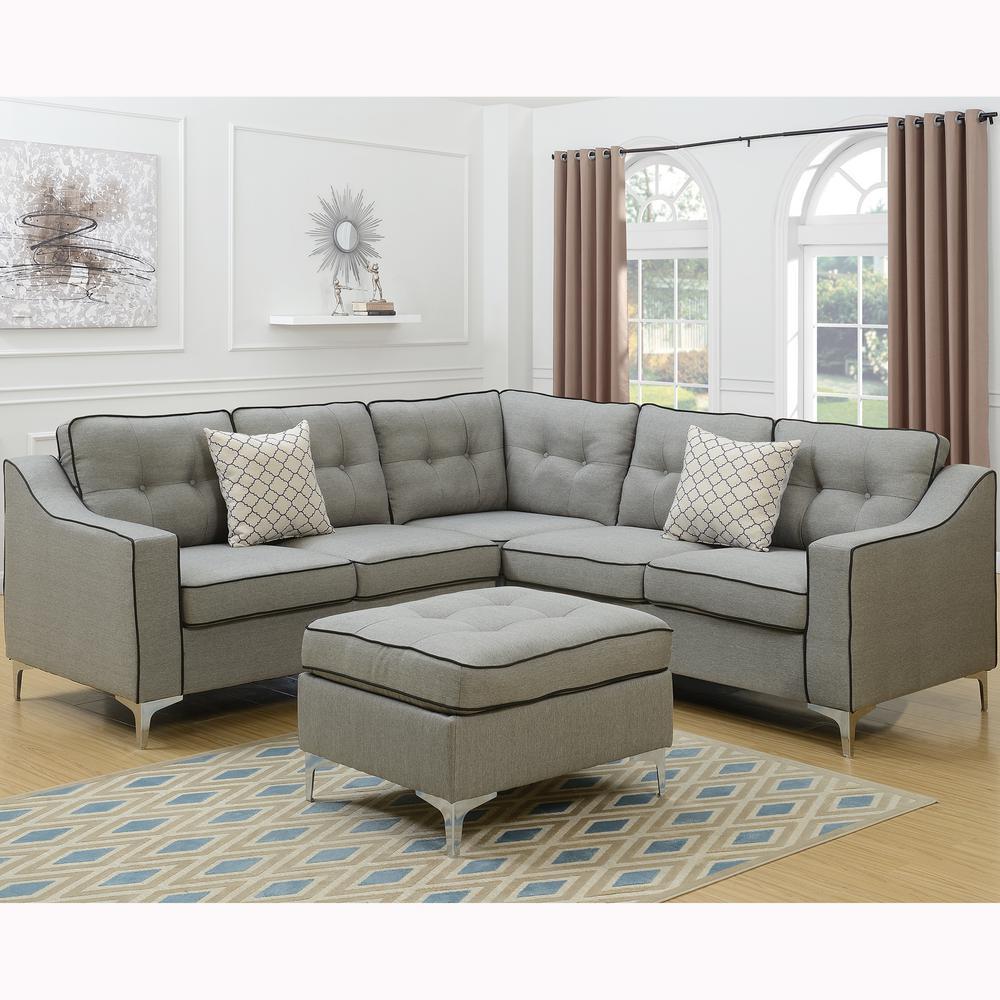 Venetian Worldwide Palermo 4 Piece Light Gray Sectional Sofa With Ottoman
