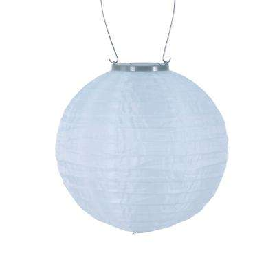 Glow 10 in. White Round Integrated LED Hanging Outdoor Nylon Solar Lantern