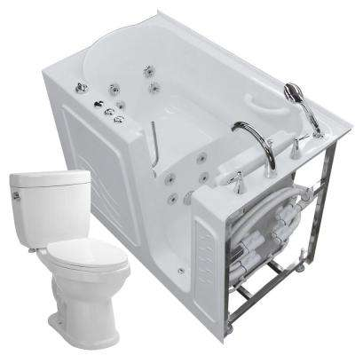 52.8 in. Walk-In Whirlpool Bathtub in White with 1.6 GPF Single Flush Toilet