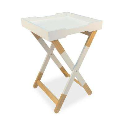 urb SPACE White Wood Tray Side Table - TV Tray