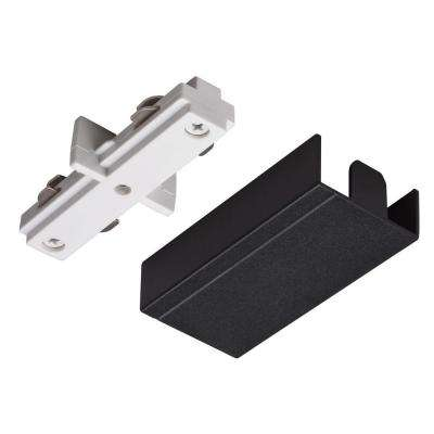 Straight Connector White Track Lighting Kit with Black Cover
