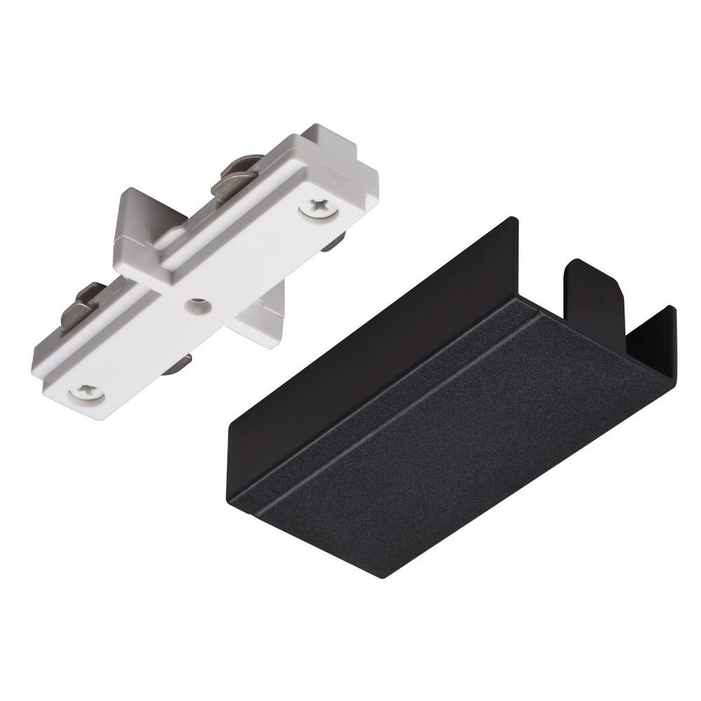 Awesome Straight Connector White Track Lighting Kit With Black Cover