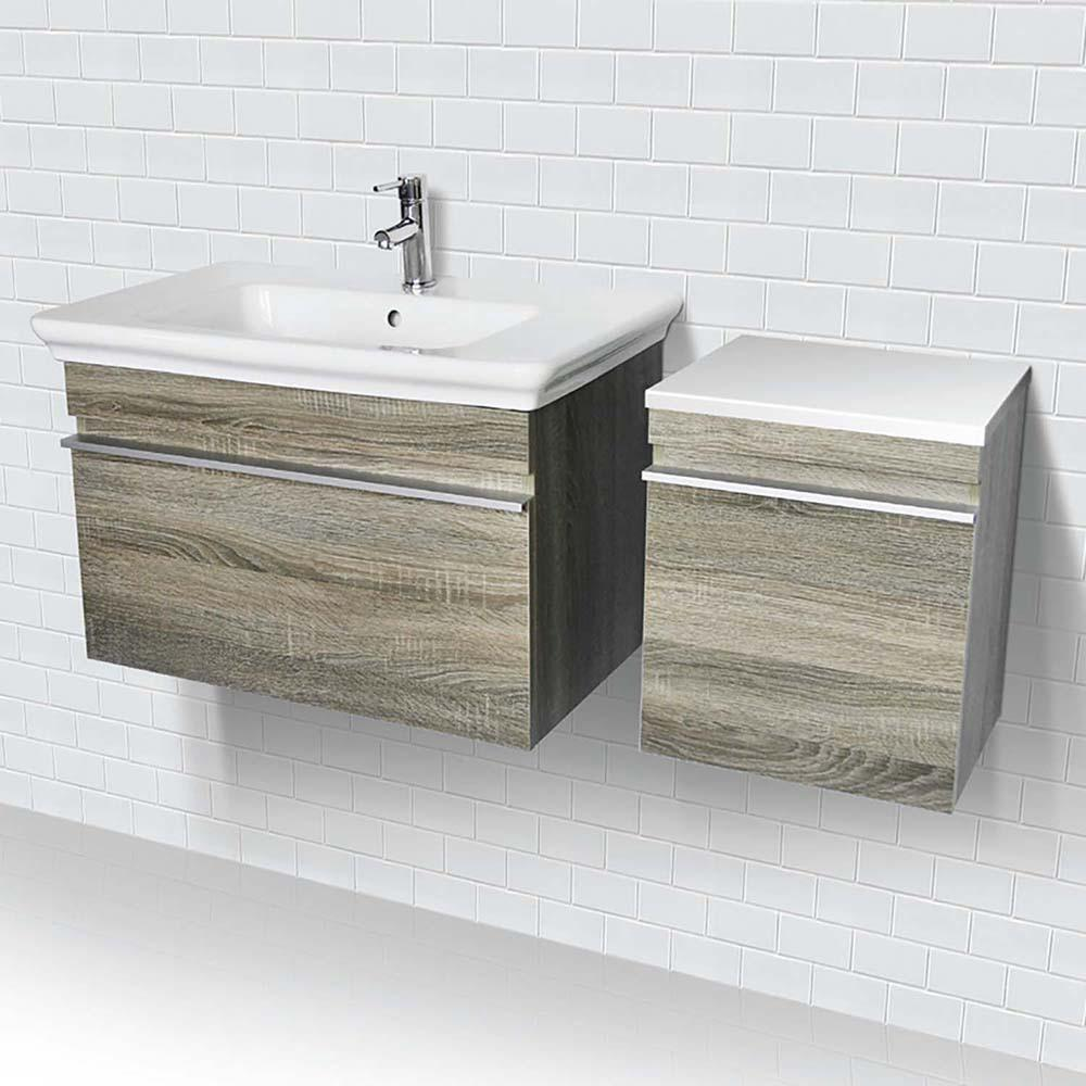 Lakeside 31.5 in. Wall-Mount Vanity in Gray with White Vitreous China Top and White Basin