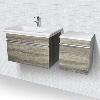 31.5 in. Wall-Mount Vanity in Gray with White Vitreous China Top and White Basin