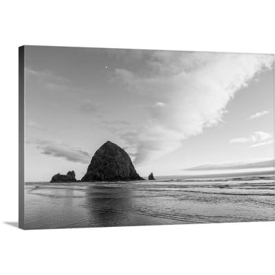 """30 in. x 20 in. """"Black and White Haystack Rock, Cannon Beach, Oregon"""" by  Circle Capture Canvas Wall Art"""