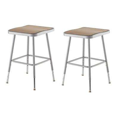 19 in. - 27 in. Height Grey Adjustable Heavy-Duty Square Seat Steel Stool (2-Pack)