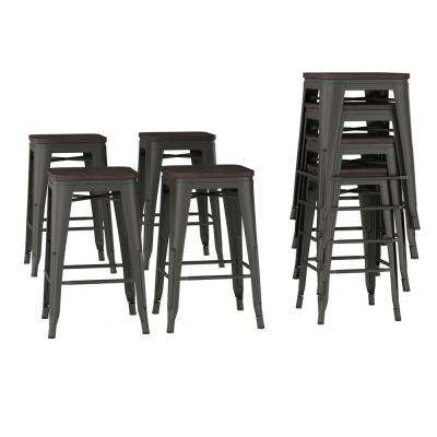 24 in. Stackable Backless Bronze Metal Bar Stool (Set of 4)