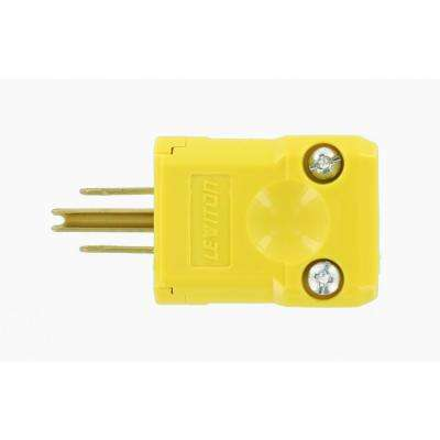 15 Amp Python Straight Blade Plug, Yellow