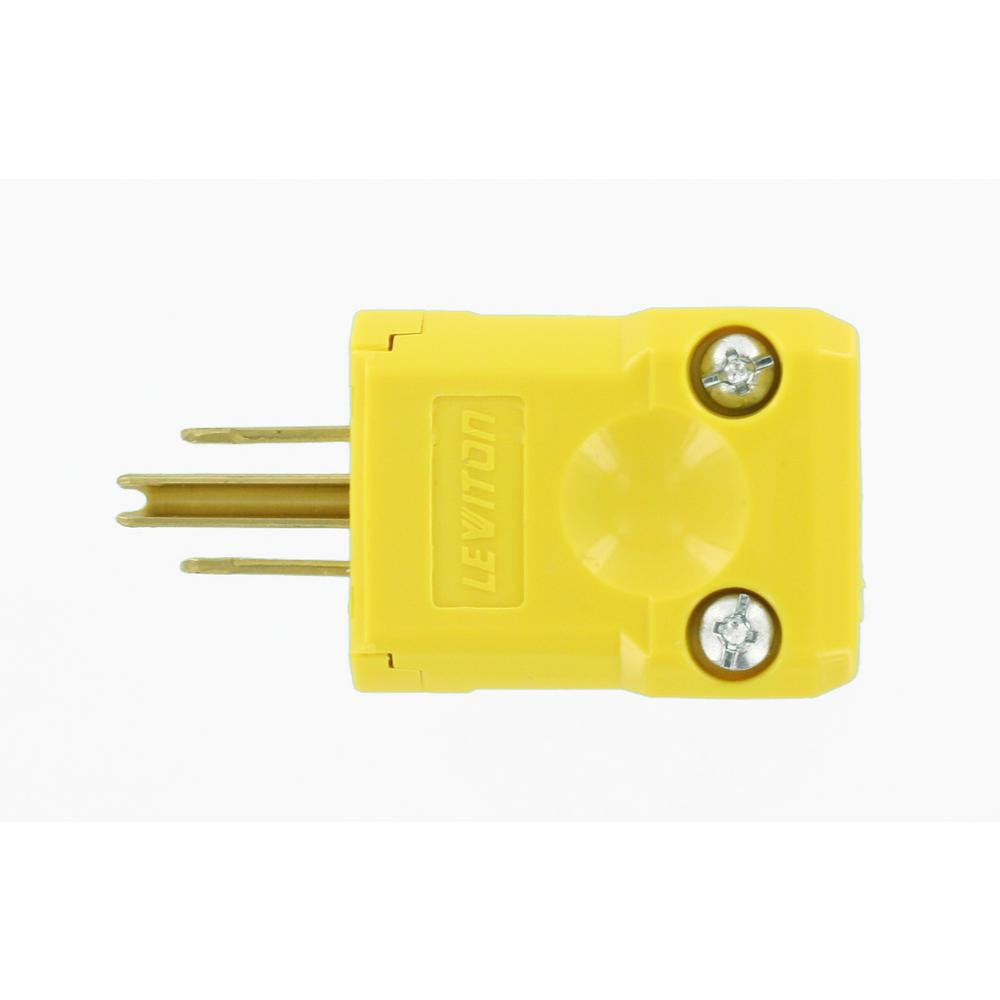 LEVITON 15 Amp Python Straight Blade Plug, Yellow