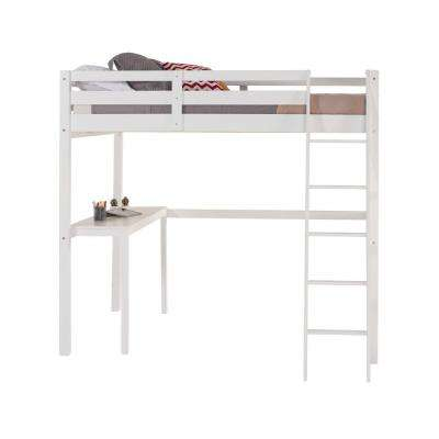 Concord White Full Size High Loft Bed with Desk