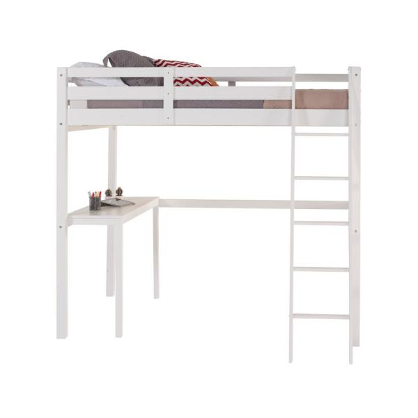 Camaflexi Concord White Full Size High Loft Bed With Desk T1403df