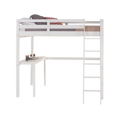 Concord White Twin Size High Loft Bed with Desk