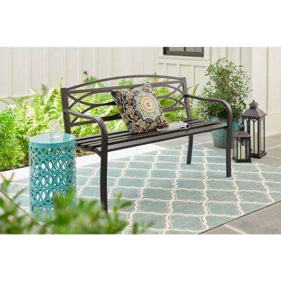 Aubrey Black Metal Outdoor Patio Bench