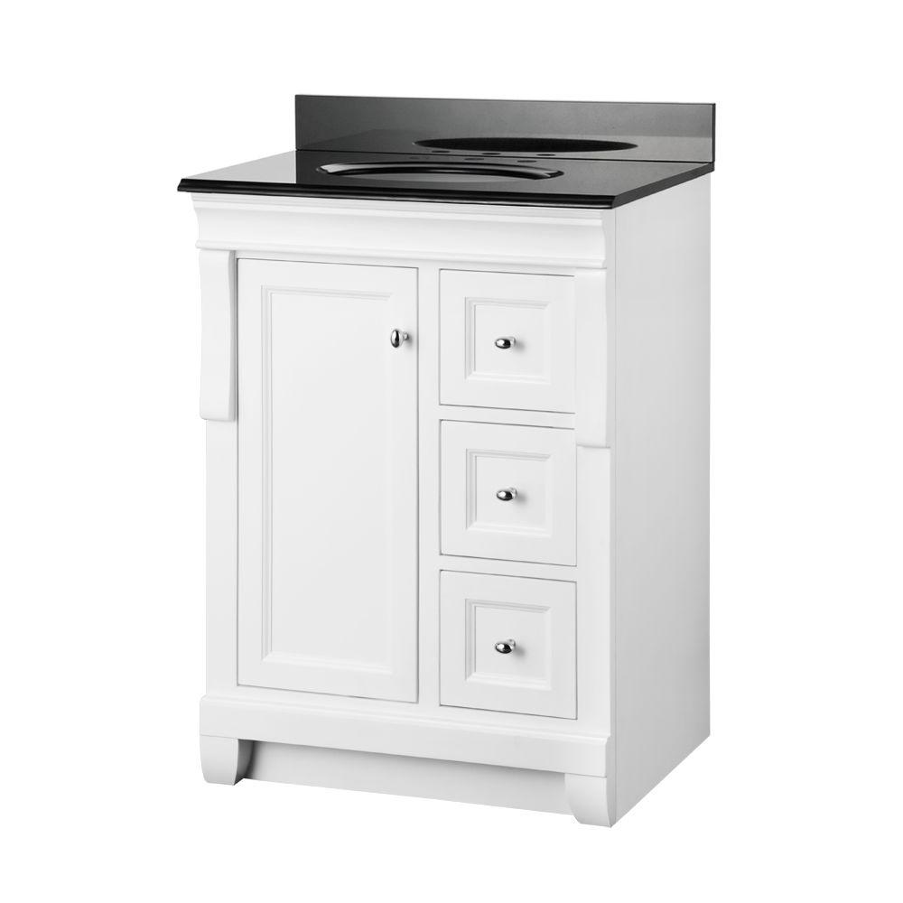 Foremost naples 25 in w x 19 in d bath vanity in white for Black bathroom vanity with white marble top