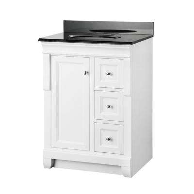 Naples 25 in. W x 19 in. D Bath Vanity in White and Granite Vanity Top in Black