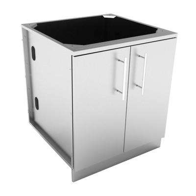 Designer Series 304 Stainless Steel 30 in. x 34.5 in. x 28.25 in. Full Height Double Door Base Cabinet with Door Pockets