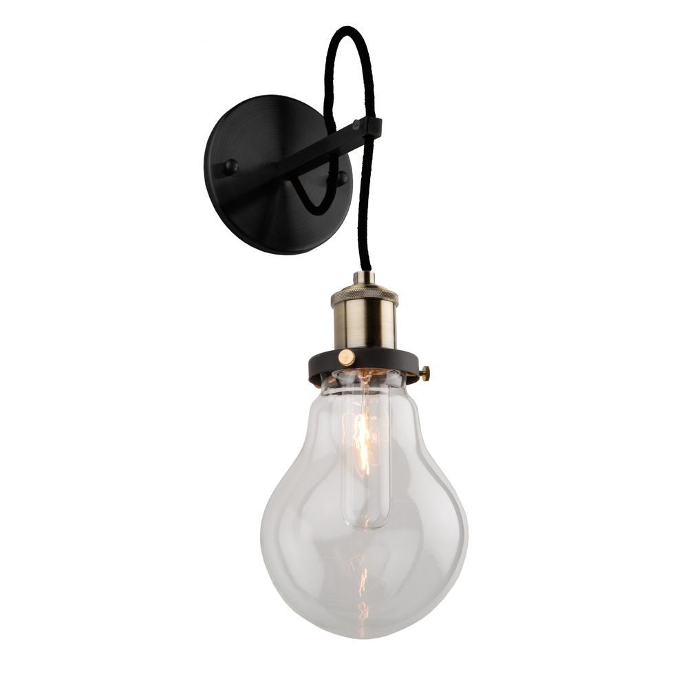 Edison 1-Light Matte Black and Vintage Brass Sconce