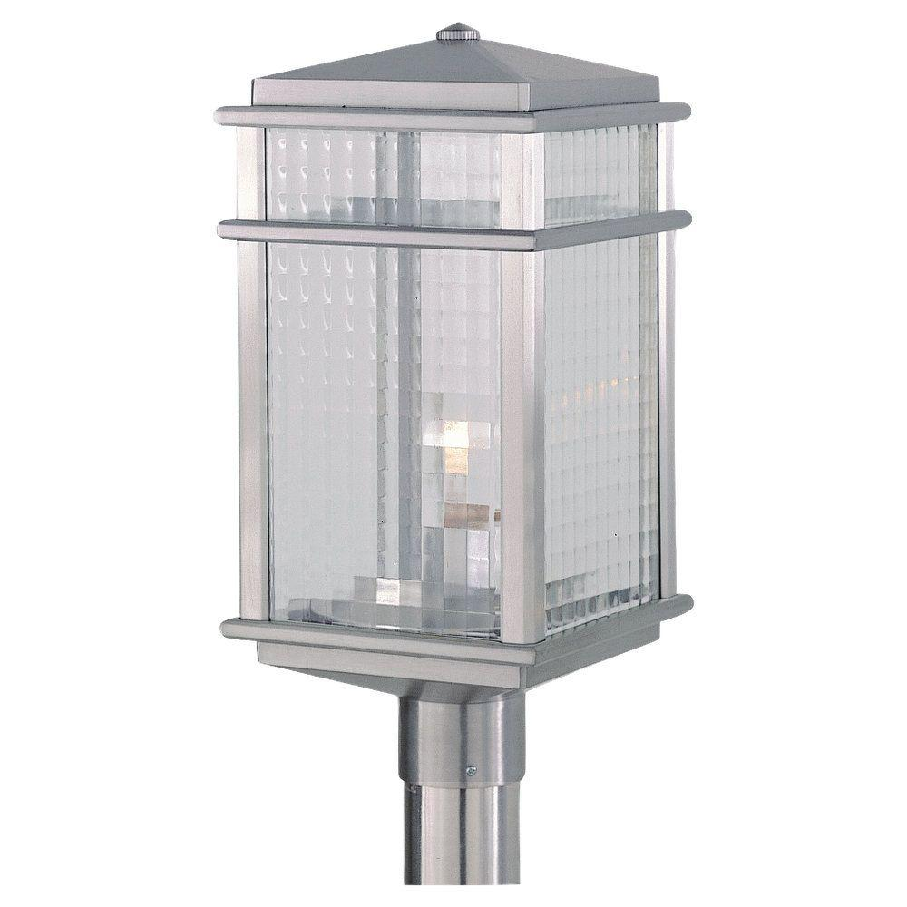 Outdoor Post Lights At Home Depot: Feiss Mission Lodge 1-Light Brushed Aluminum Outdoor Post