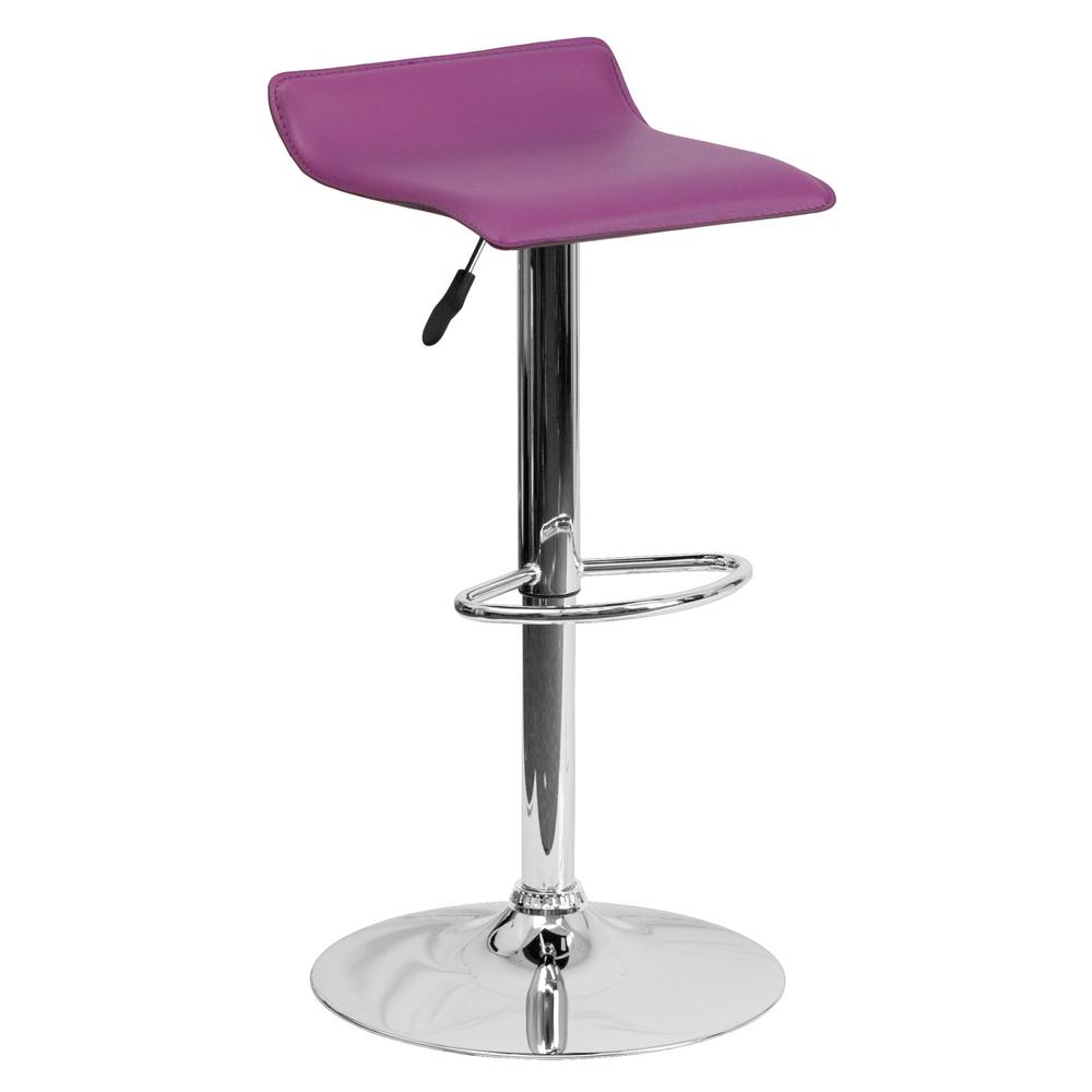 31.25 in. Adjustable Height Purple Cushioned Bar Stool