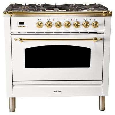 36 in. 3.55 cu. ft. Single Oven Dual Fuel Italian Range True Convection, 5 Burners, Griddle, LP Gas, Brass Trim in White