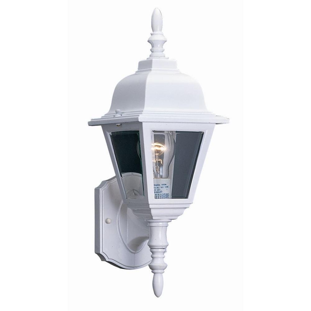 Maple street white outdoor wall mount uplight