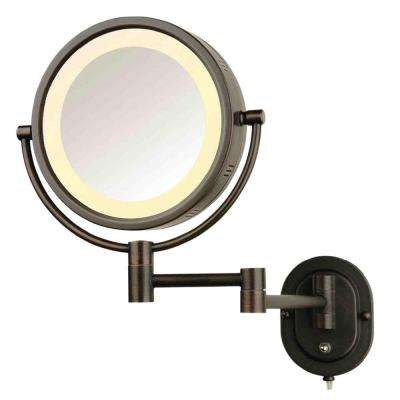 8 in. x 8 in. Round Lighted Wall Mounted Direct Wired 5X Magnification Make Up Mirror in Bronze