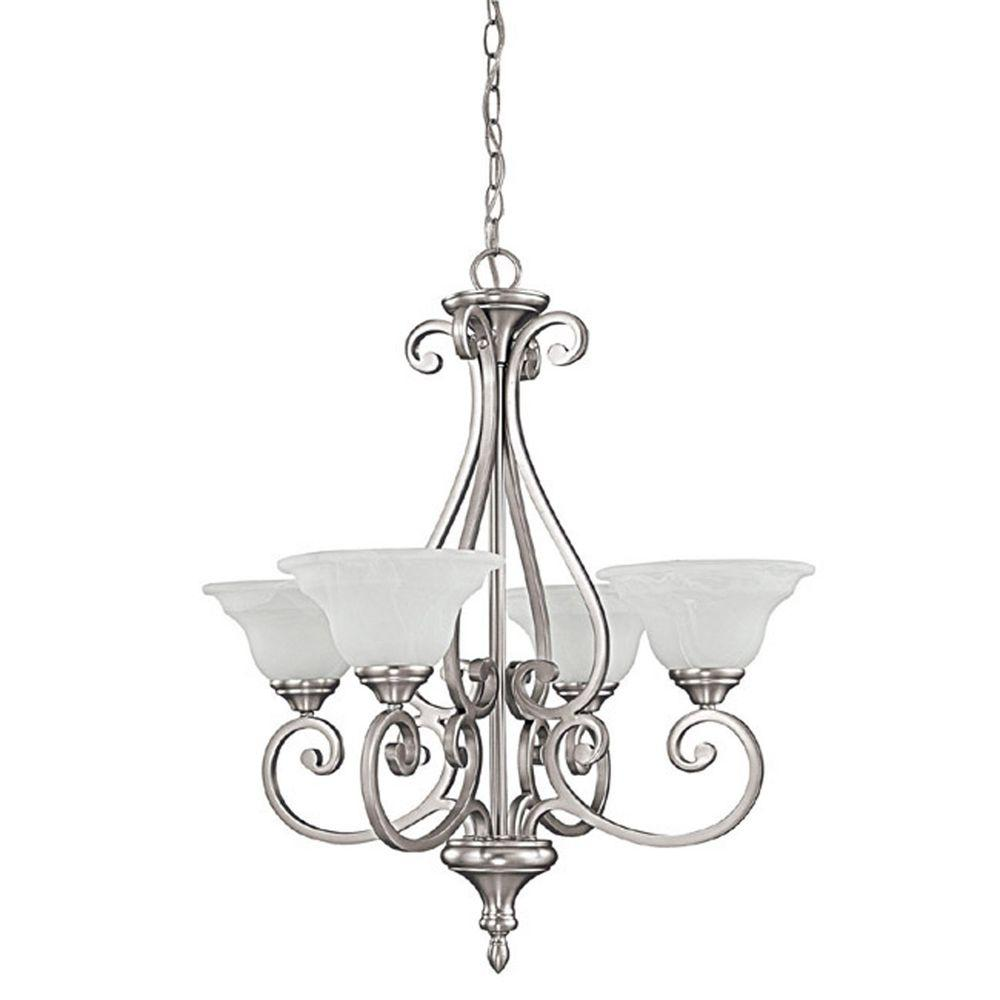 filament design 4 light matte nickel chandelier with faux white alabaster glass shade cli. Black Bedroom Furniture Sets. Home Design Ideas