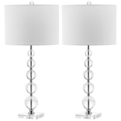 Liam 29 in. Clear Stacked Crystal Ball Table Lamp with White Shade