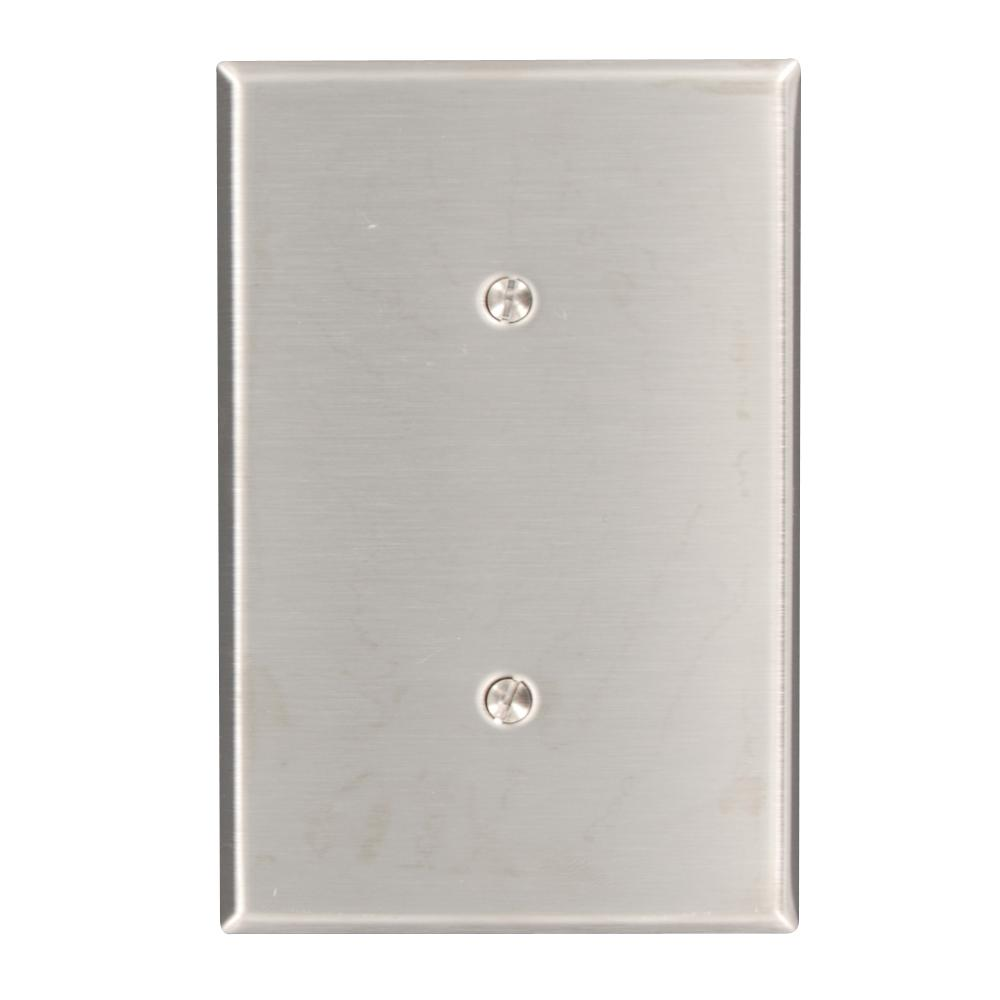 1-Gang No Device Blank Wallplate, Oversized, 302 Stainless Steel, Strap Mount,