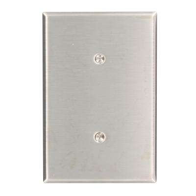 1-Gang No Device Blank Wallplate, Oversized, 302 Stainless Steel, Strap Mount, Stainless Steel