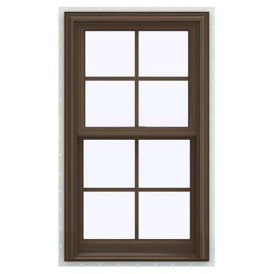 235 in x 475 in v 2500 series brown painted vinyl double hung