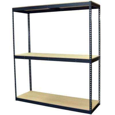 96 in. H x 72 in. W x 24 in. D 3-Shelf Steel Boltless Shelving Unit with Double Rivet Shelves and Laminate Board Decking