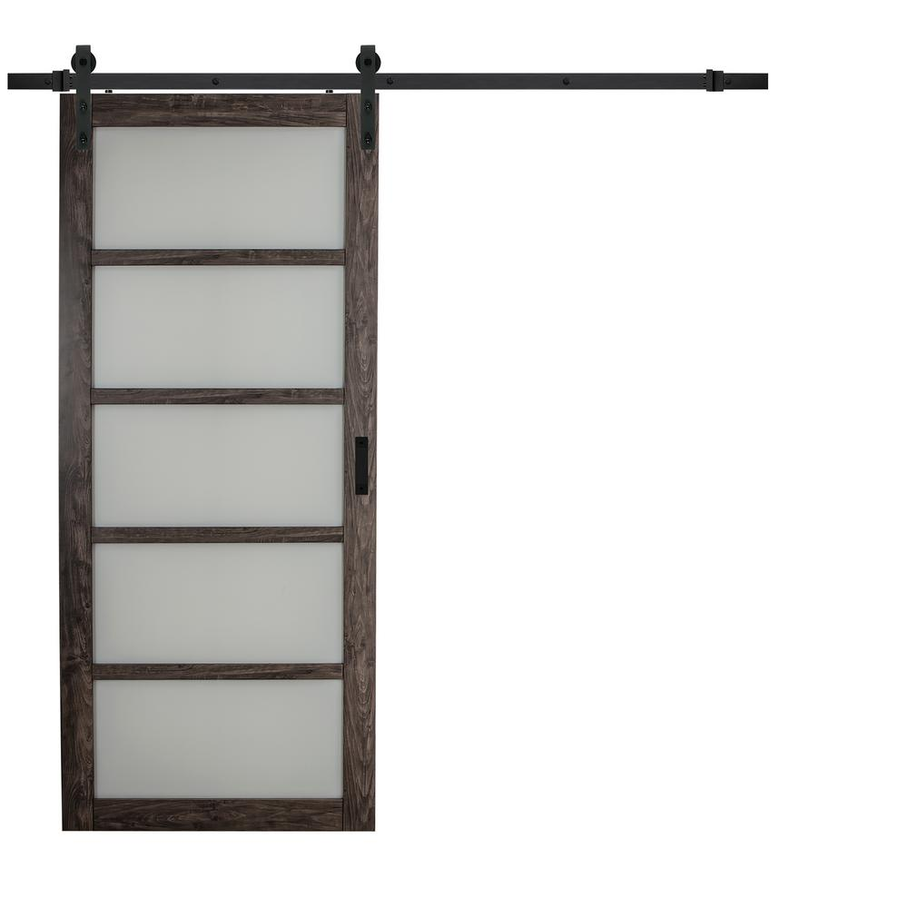 TRUporte 36 In. X 84 In. Iron Age Gray MDF Frosted Glass 5 Lite