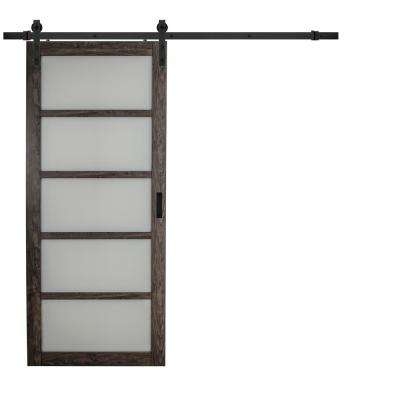 36 in. x 84 in. Iron Age Gray MDF Frosted Glass 5 Lite Design Sliding Barn Door with Rustic Hardware Kit