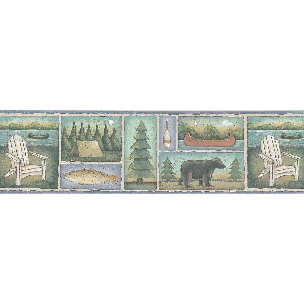 Brewster Northwoods Lodge Lake Motif Wallpaper Border