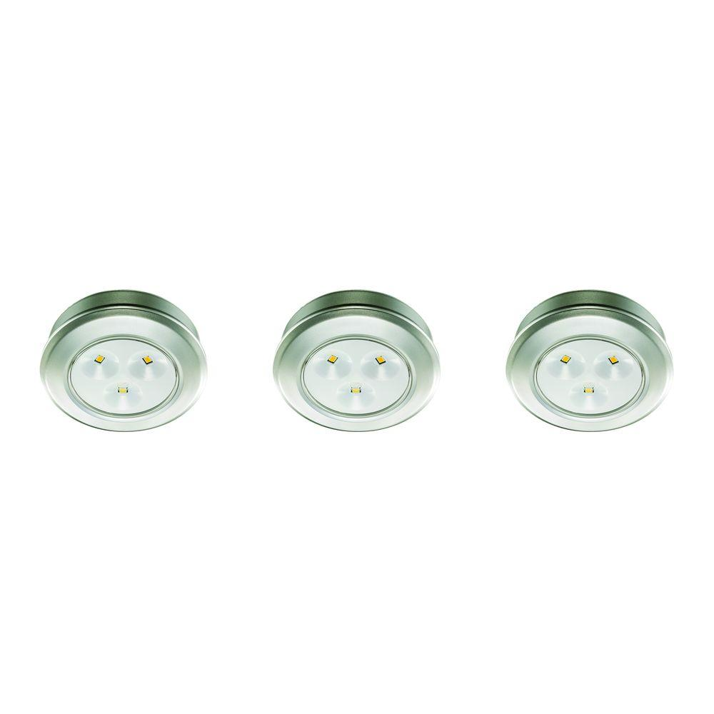 LED Silver Battery Operated Puck Light (3 Pack)
