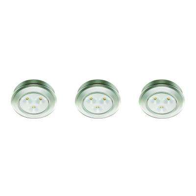 2.99 in. LED Silver Battery Operated Puck Light (3-Pack)