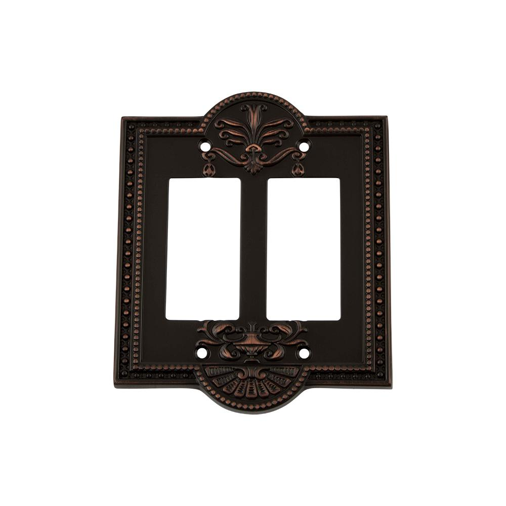 Meadows Switch Plate with Double Rocker in Timeless Bronze