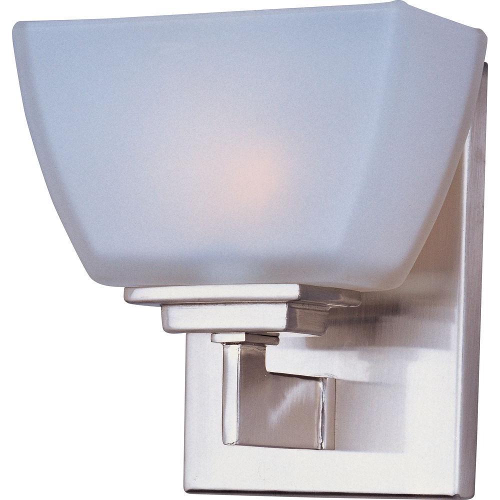 Maxim lighting angle 1 light satin nickel bath vanity light 9031swsn the home depot for Bathroom vanity tray satin nickel