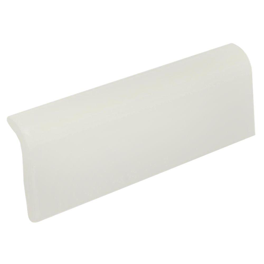 U.S. Ceramic Tile US Ceramic Tile Matte Bone 2 in. x 6 in. Ceramic Bullnose Radius Cap Wall Tile-DISCONTINUED