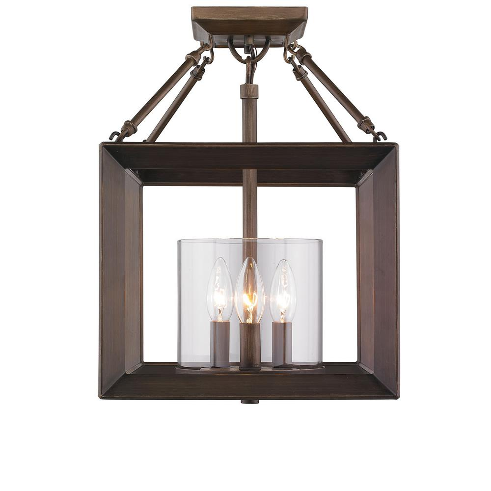 Golden Lighting Smyth 3-Light Convertible Semi-Flush Mount in Gunmetal Bronze with Clear Glass
