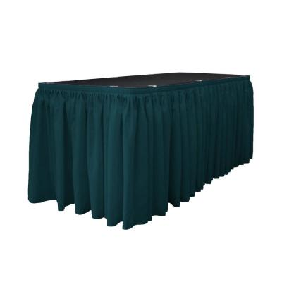 14 ft. x 29 in. Long Dark Teal Polyester Poplin Table Skirt with 10 L-Clips